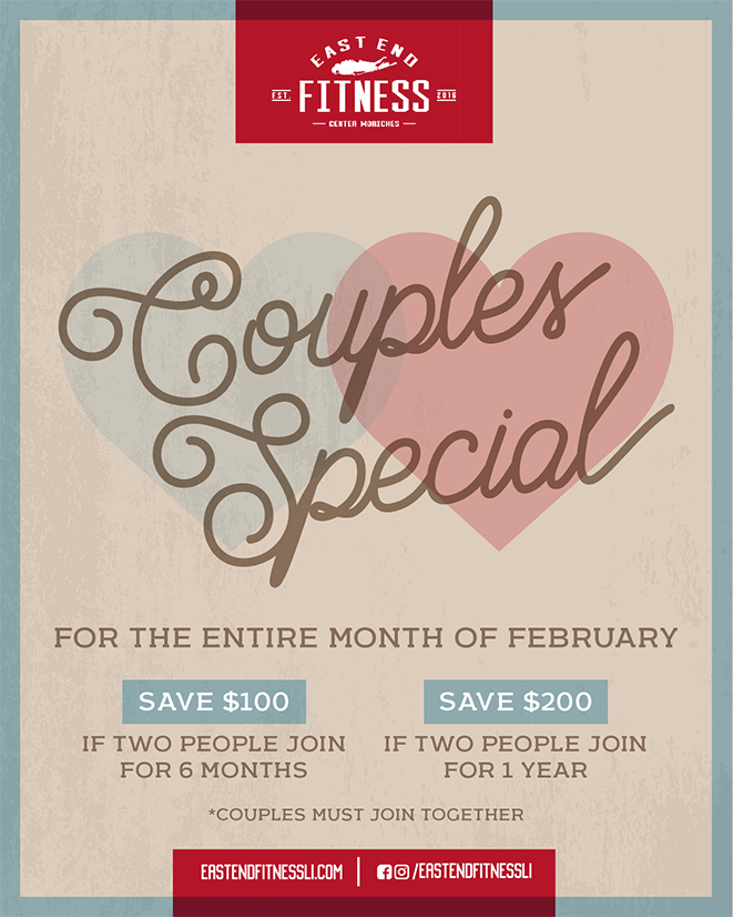 Couples Special for the Entire Month of February. Save $100 if two people join for 6 months. Save $200 if two people join for 1 year.