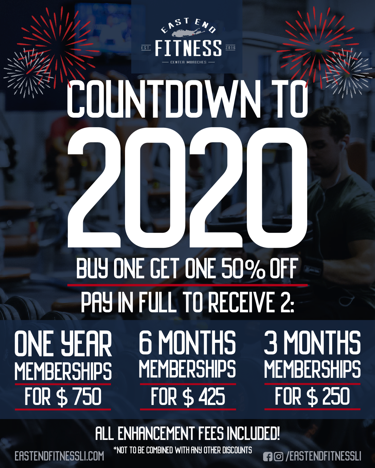 Flyer for Countdown to 2020. Buy one get one 50% off. Pay in full to receive 2: one year memberships for $750, 6 months memberships for $425, 3 months memberships for $250. All enhancement fees included.
