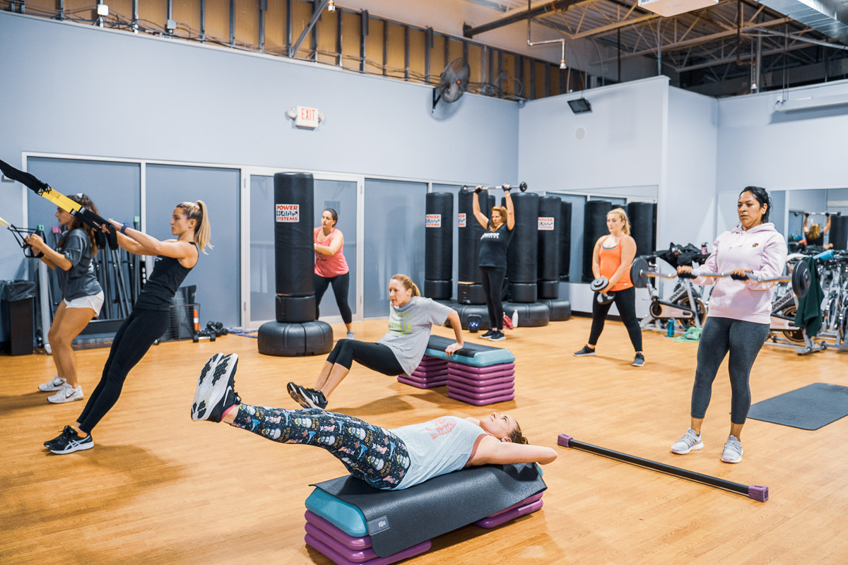 A photo of a group fitness class