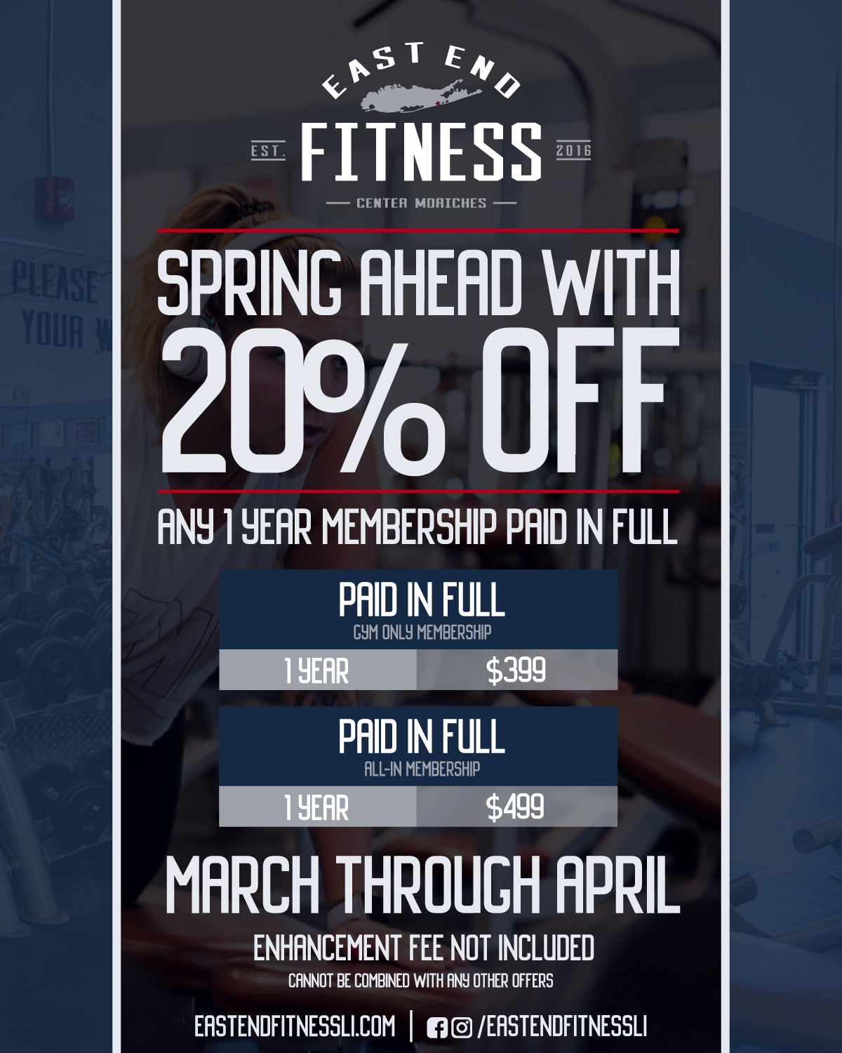 Flyer for Spring Ahead with 20% off any 1 year membership paid in full, March through April, Enhancement Fee not included, Cannot be combined with any other offers