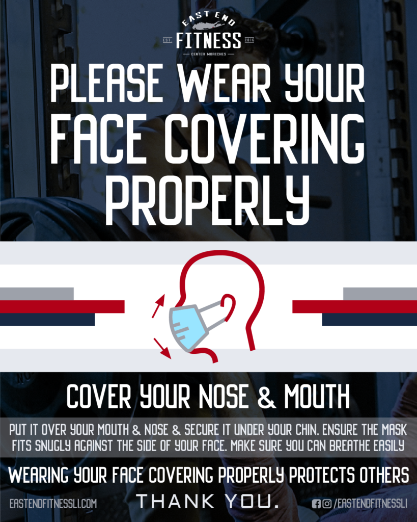 Flyer for Please Wear your Face Covering Properly. Cover your nose and mouth. Put it over your mouth and nose and secure it under your chin. Ensure the mask fits snugly against the side of your face. Make sure you can breathe easily. Wearing your face covering properly protects others, thank you.