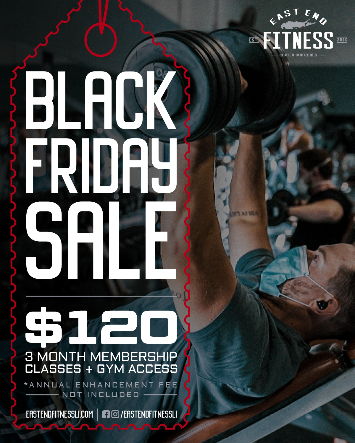Flyer for Black Friday Sale, $120 for a 3 month membership classes and gym access